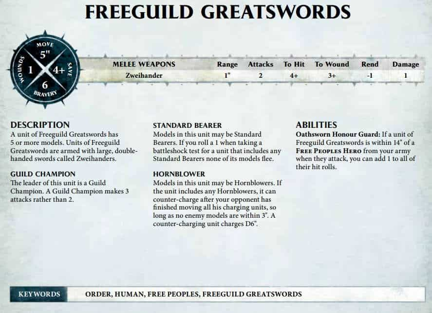 This is an example of a warscroll for Warhammer: Age of Sigmar. It should help explain what Allegiance abilities and Allies are..