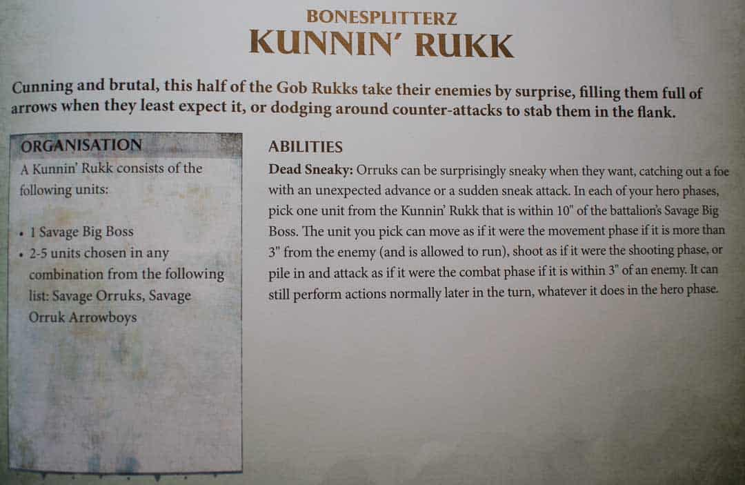 This is a picture of the Kunnin' Rukk Warscroll Battalion from the Bonesplitterz Battletome in Age of Sigmar