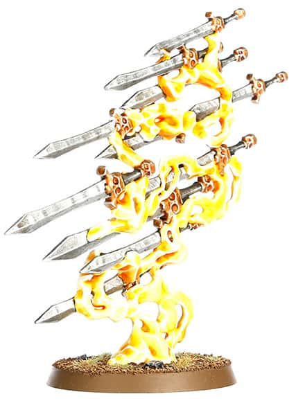 A picture of the Endless Spell Quicklsilver Swords from the Malign Sorcery expansion for Age of Sigmar 2.0