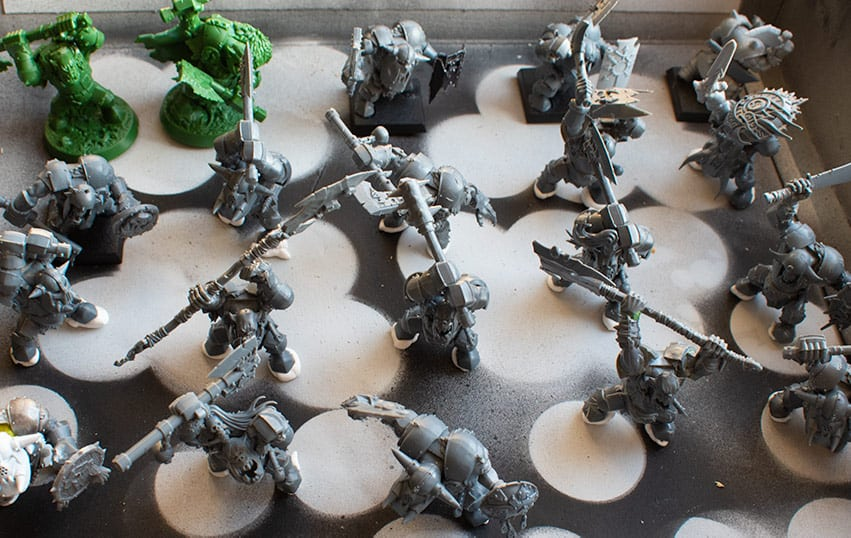 A picture of sticky tac under some Ironjawz ready for primer