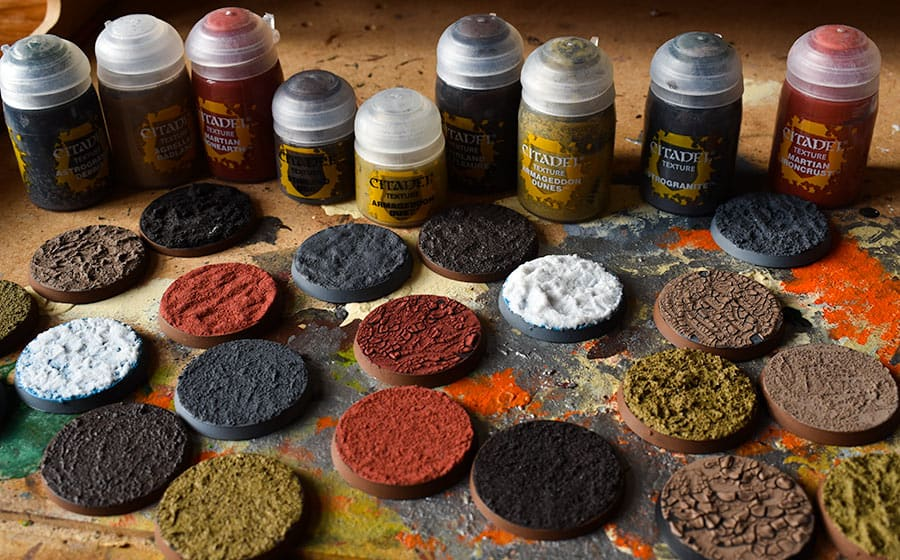 Picture of all the Citadel texture paint produced by Games Workshop for Age of Sigmar and Warhammer 40k