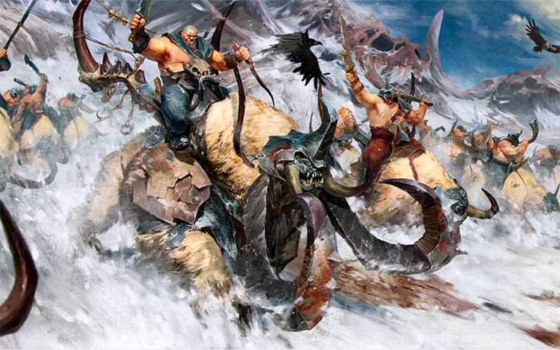 Mournfang and Thundertusk riding on the avalance of the everwiner