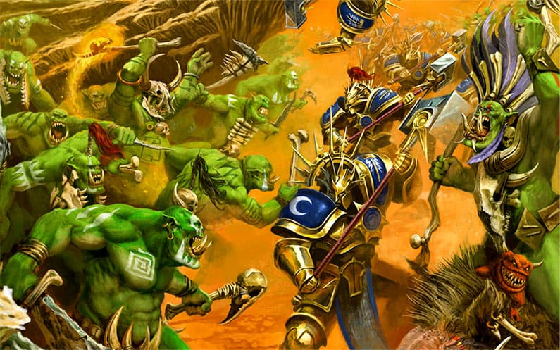 Some Savage Orruks from the Bonesplitterz faction killing some Stormcast Eternals