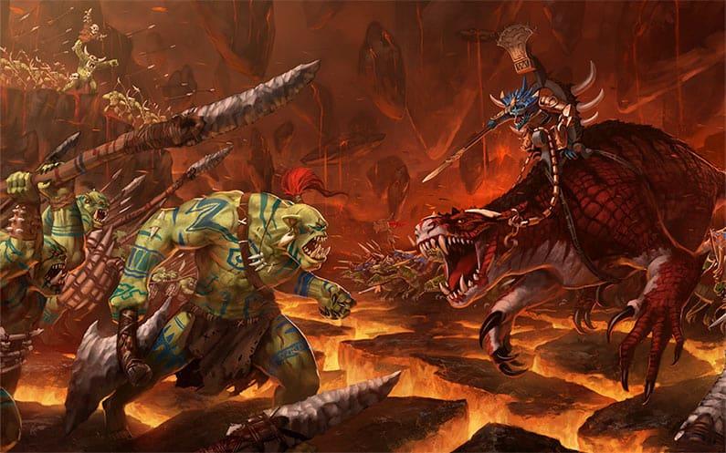 Seraphon and Bonesplitterz clashing