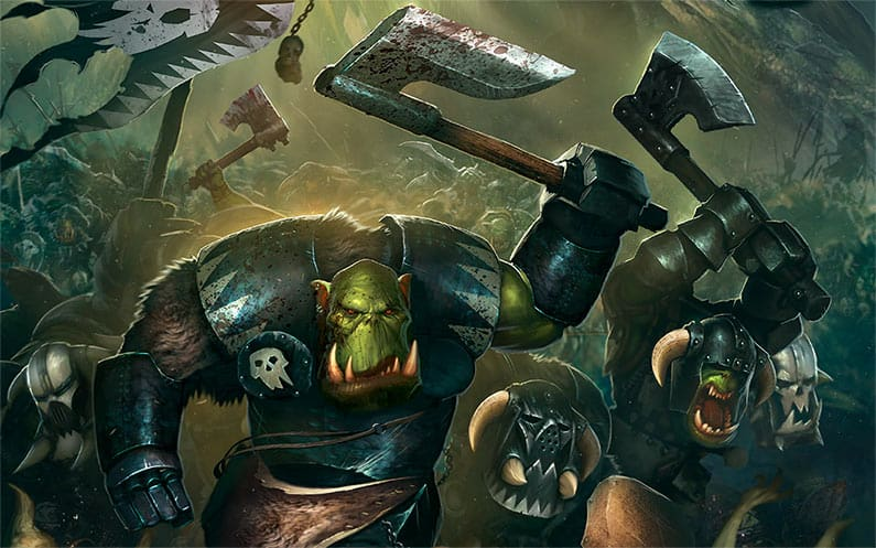 Some Ardboys from the Ironjawz faction smashing up things good