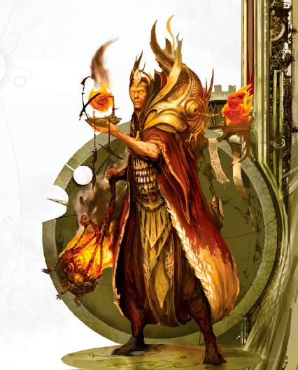 Flame guy from Aqshy (realm of fire). The image is used as part of a rundown of the artefacts in Malign Sorcery.