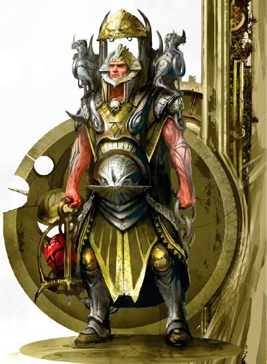 A funky metal-dude from the realm of Chamon. The image is used as part of a rundown of the artefacts in Malign Sorcery.