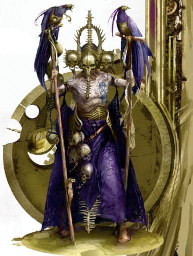 Very evil dude from Shyish (the realm of Death). The image is used as part of a rundown of the artefacts in Malign Sorcery.