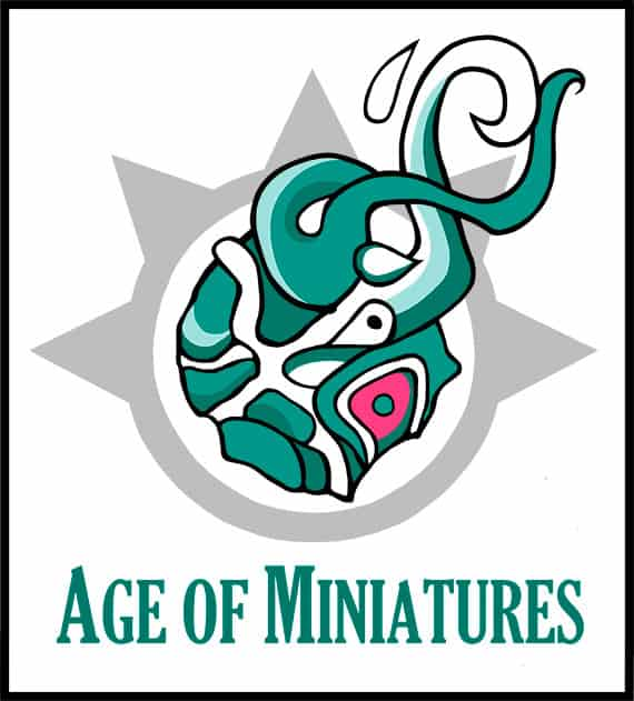 Logo for Age of Miniatures. It is a green comet thing.
