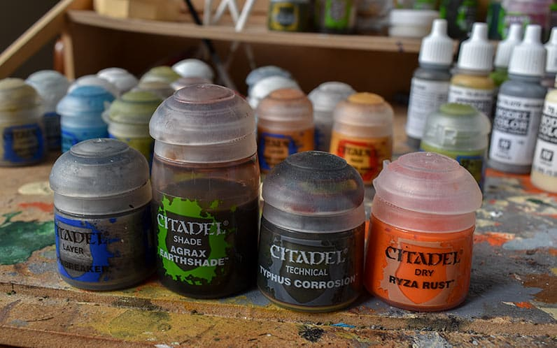 Image of the paints needed to make great rust effect on miniatures