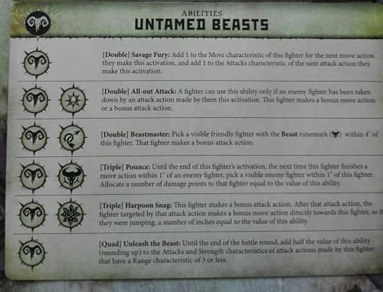 Ability card for the Untamed Beasts Warcry Warband/Faction