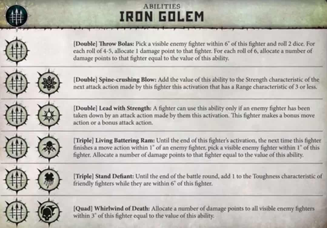 The Ability Card for Warcry for the Warband Iron Golem
