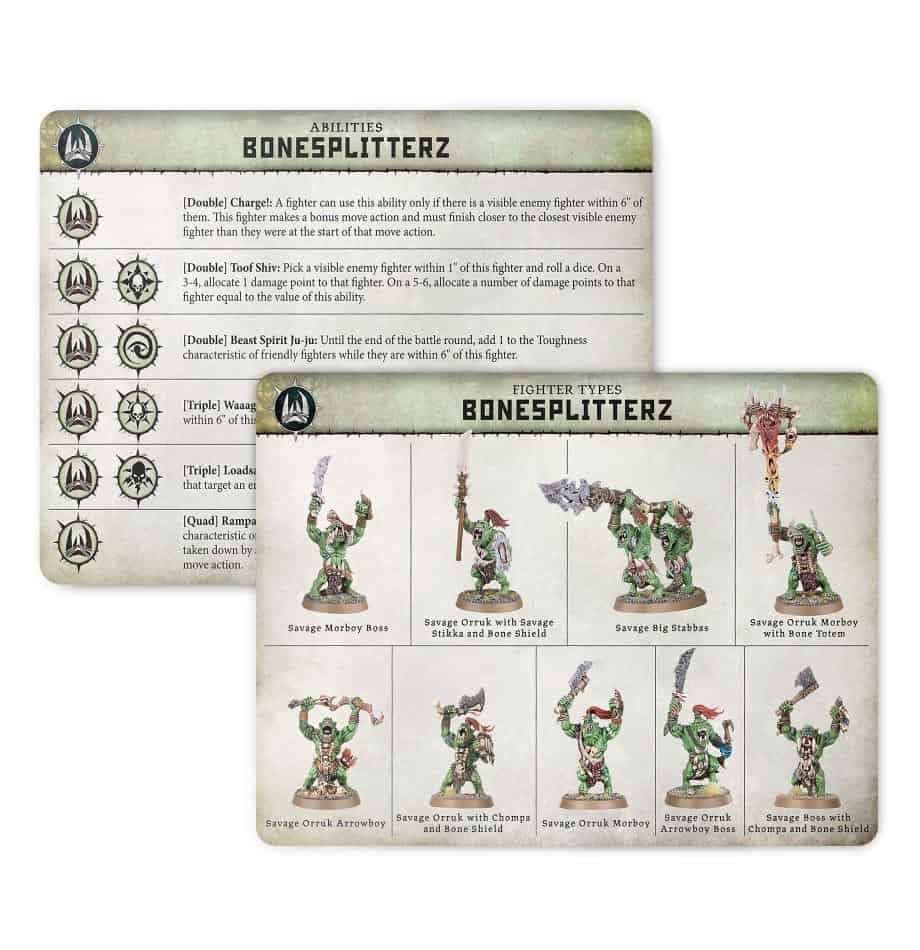 Ability card for the Bonesplitterz Warband in Warcry