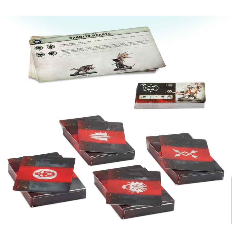 All the battleplan, fighter and ability cards in the warcry starter set