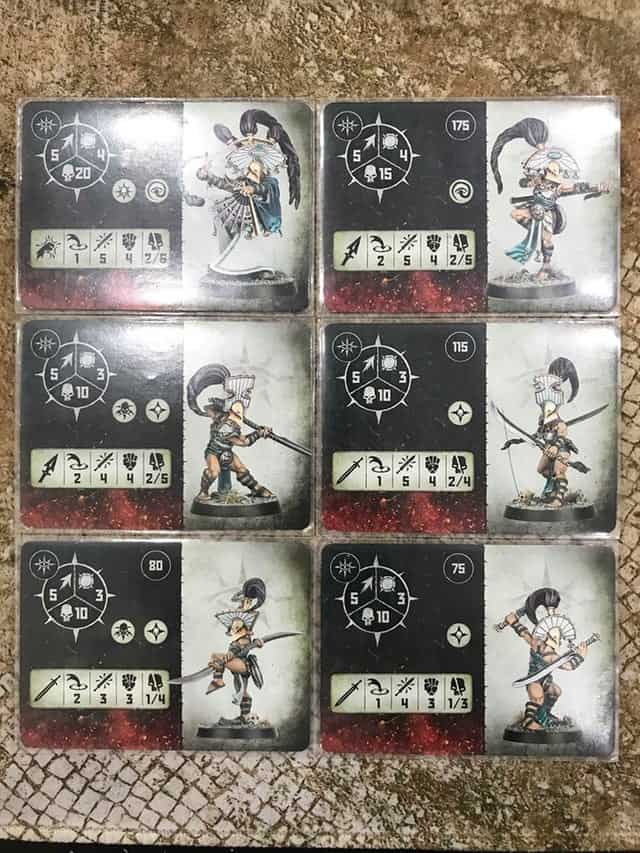 The Fighter Cards for the Cypher Lords Warband in Warcry