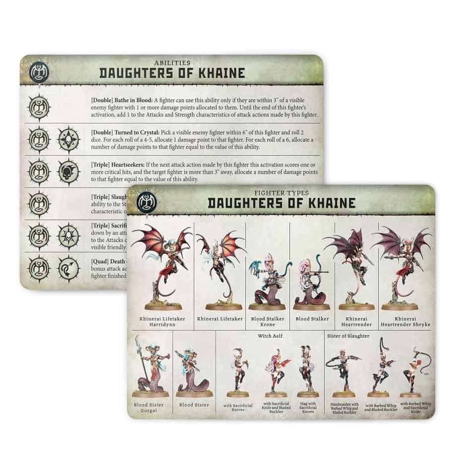 Ability card for the Daughters of Khaine Warband in Warcry