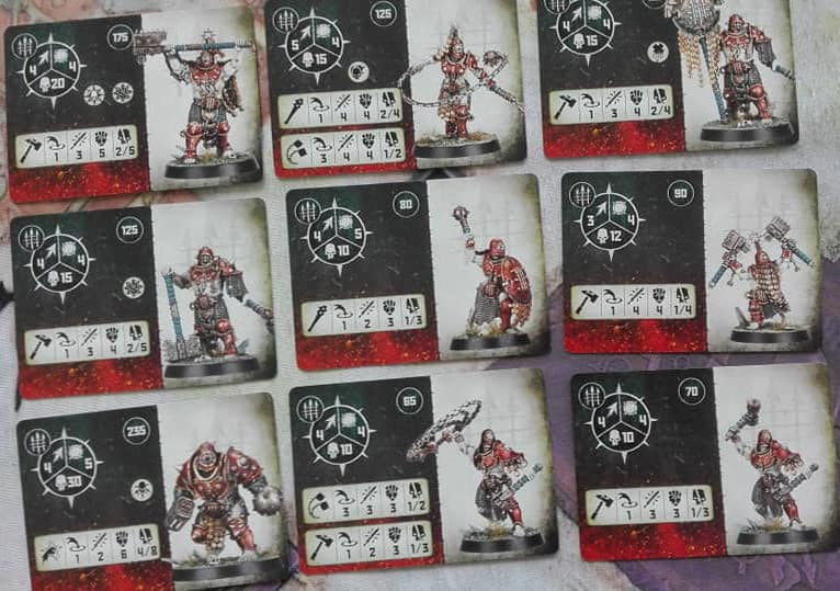 The Fighter Cards for the Iron Golem Warband in Warcry