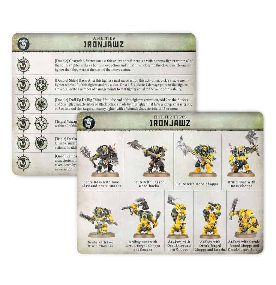 Ability card for the  Ironjawz Warband in Warcry