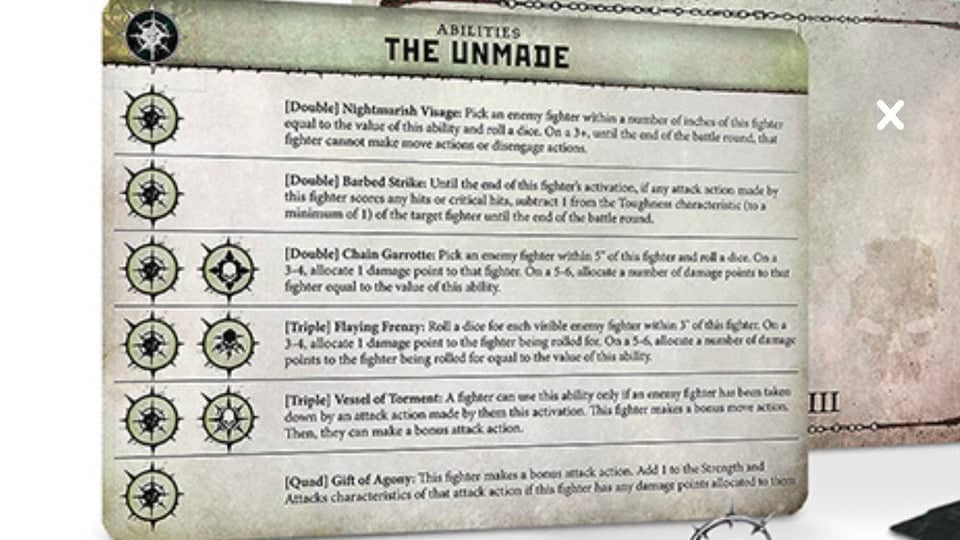 Ability Card for the Unmade Warband in Warcry (leaked image)