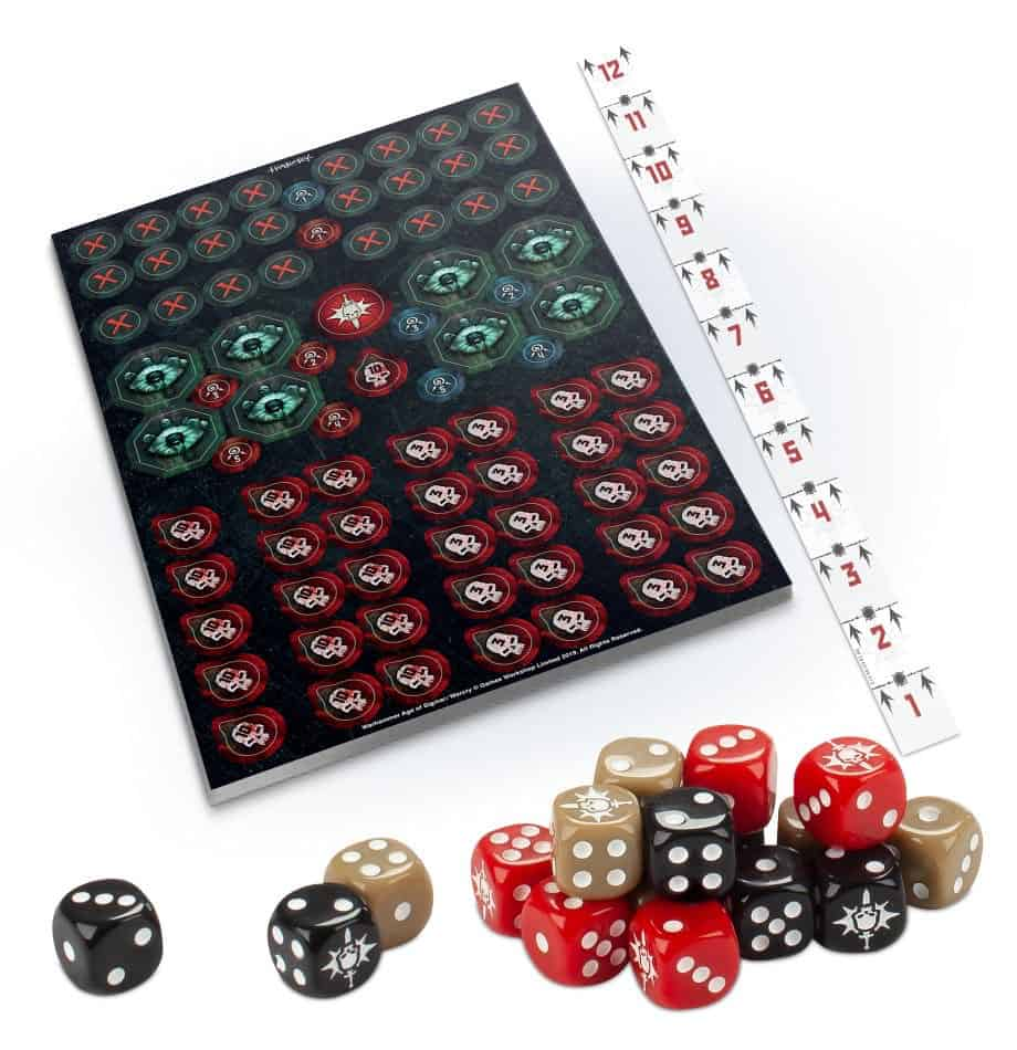 The crazy many tokens, dice and ruler for warcry