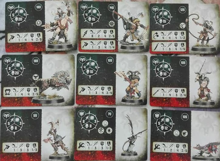 The Fighter Cards for the Untamed Beasts Warband in Warcry