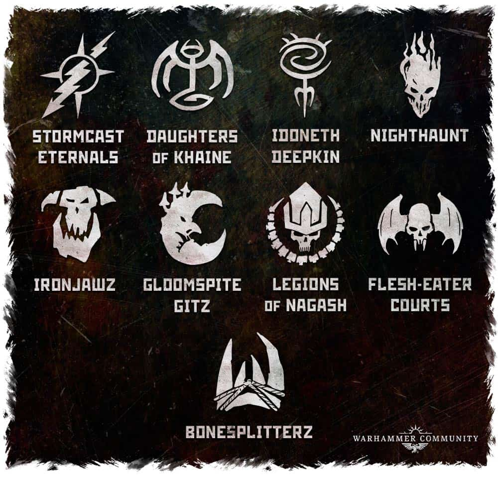 The non chaos factions avaliable for Warcry