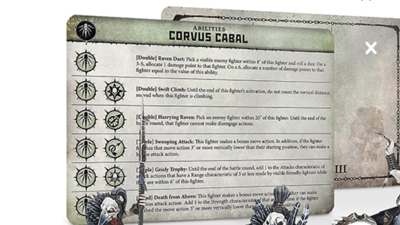The Ability Card for the Corvus Cabal Warband in Warcry