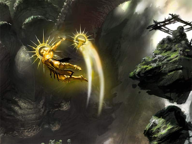Sigmar flying around being cool and all