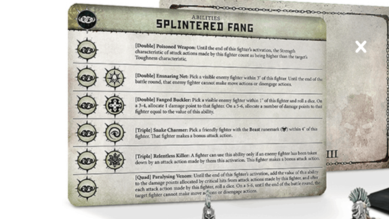 The Ability Cards for the Splintered Fang Warband in Warcry