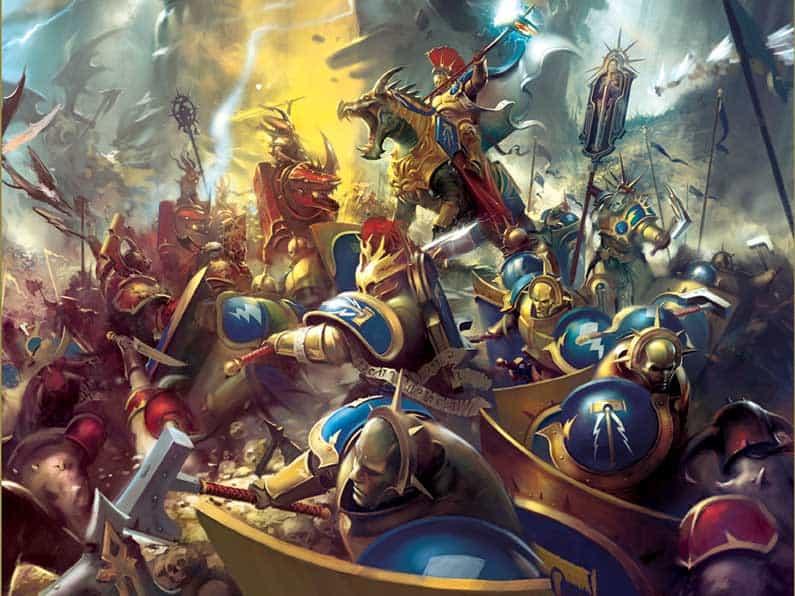 Stormcast Eternals fighting Chaos Bloodbounds