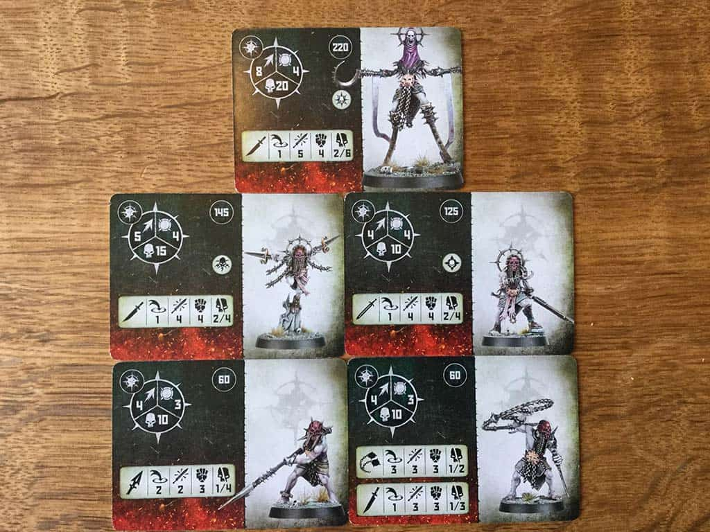 The Fighter Cards for all of the fighers in the Unmade Warcry Warband