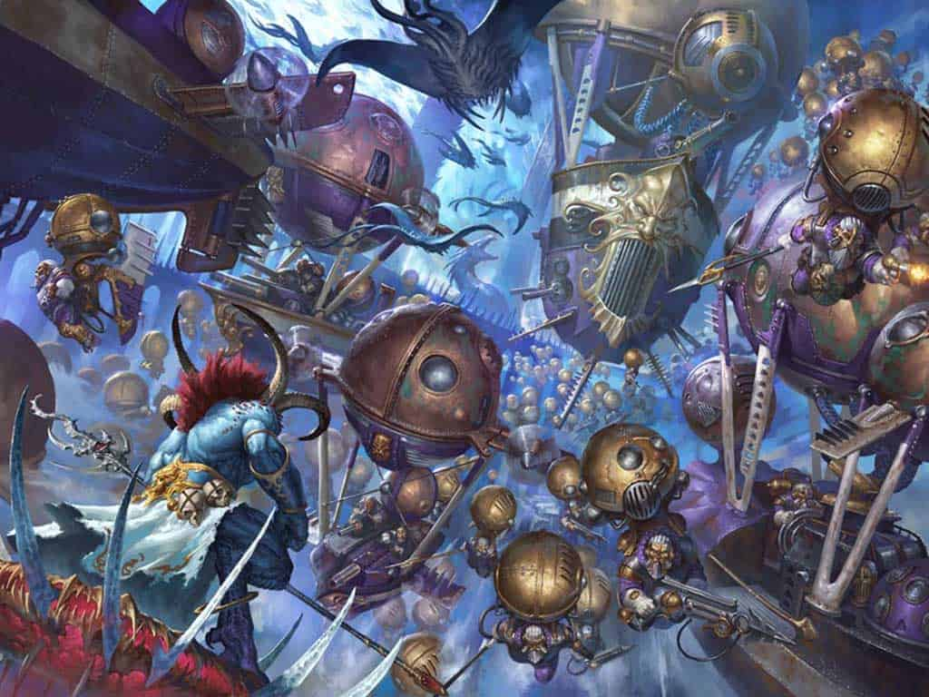 Artwork of Kharadron overlords fighting tzeentch in Age of Sigmar
