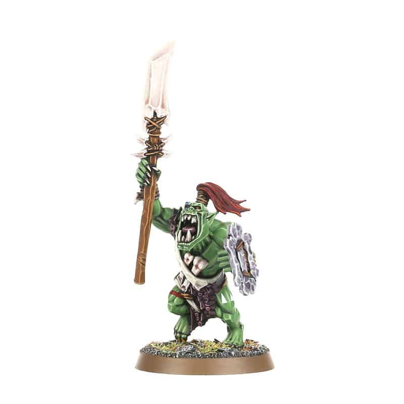 Savage Orruk with Stikka and Bone Shield for the Bonesplitterz Warband in Warcry