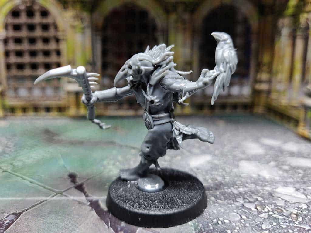 A converted Cabalist so he has the raven familiar