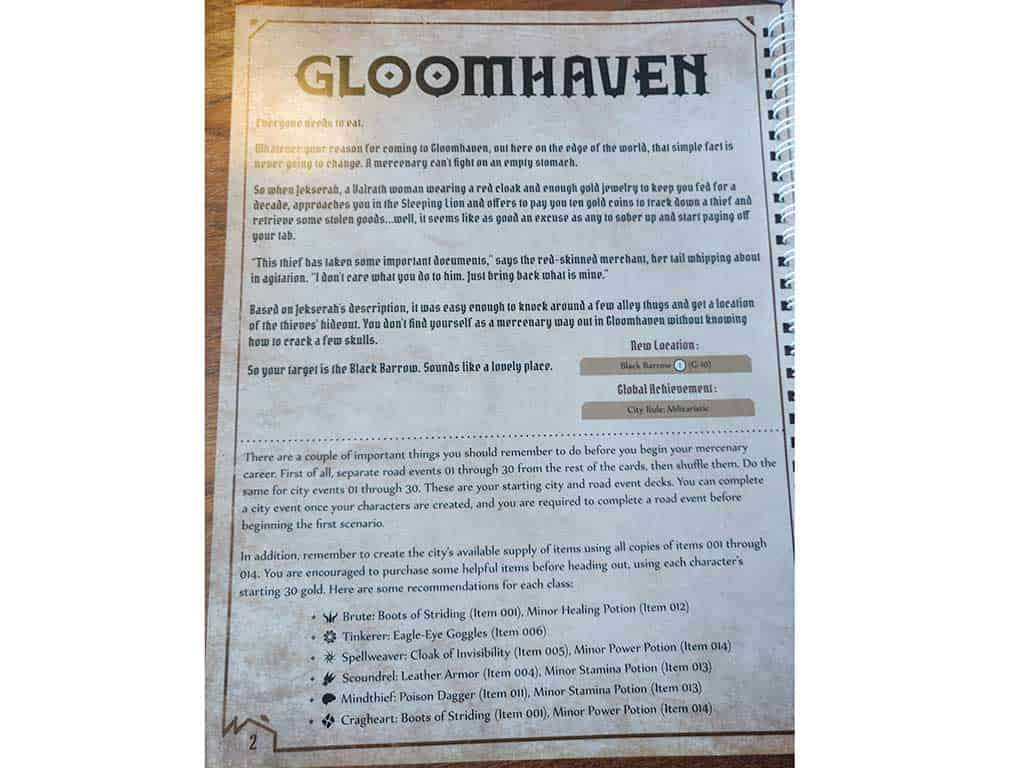 The first page of the scenario book where you will find how to start a Gloomhaven Campaign