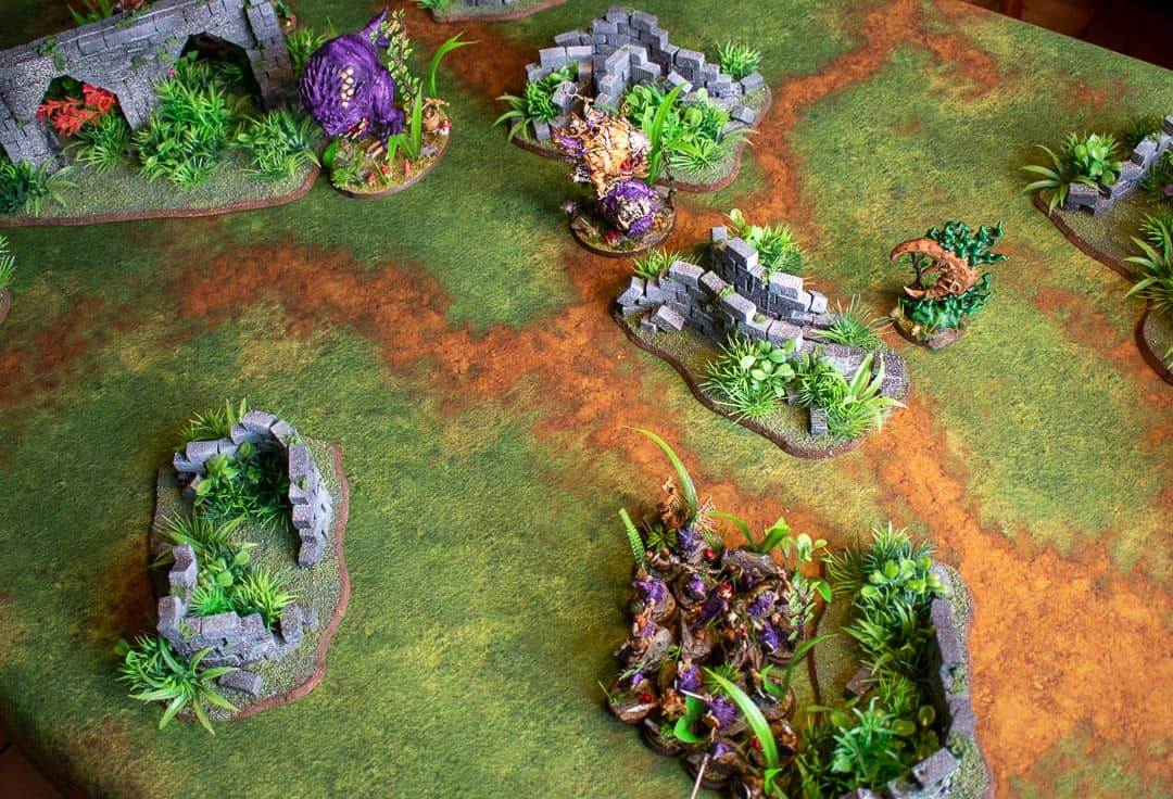 Gloomspite Gitz on a table with jungle terrain