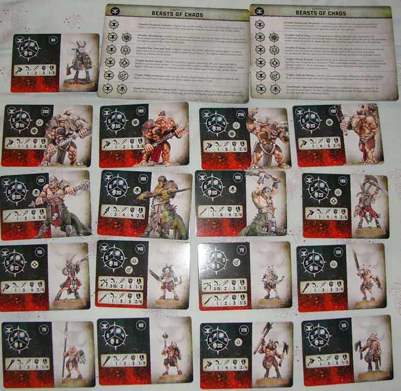 All the Fighter Cards and Ability cards cards for the Beasts of Chaos in Warcry