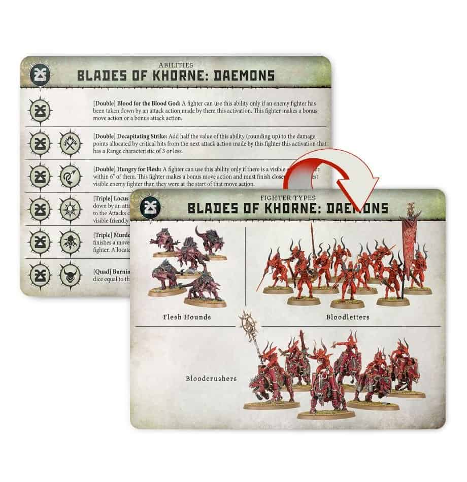 An image of all of the fighters available in the Khorne Daemons Warband