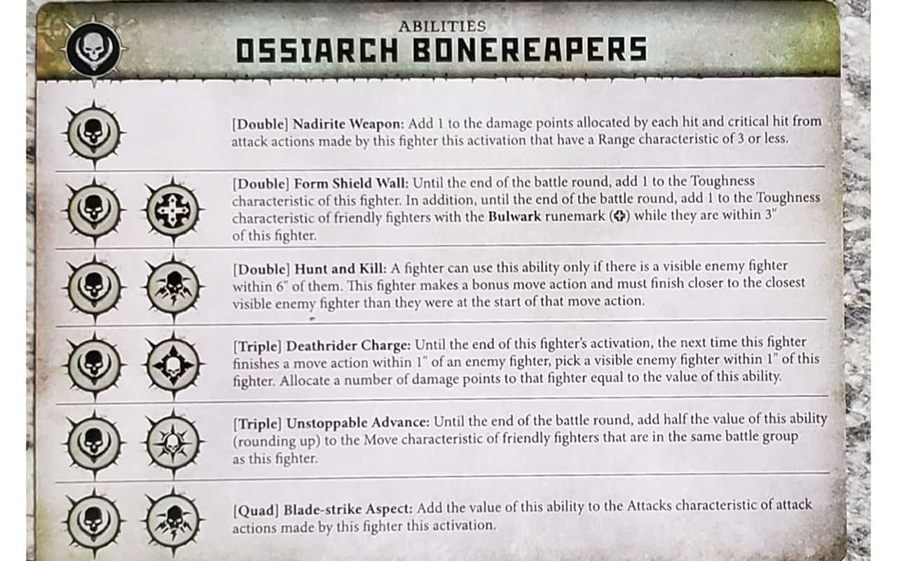 Ability Card the Ossiarch Bonereapers Warband in Warcry