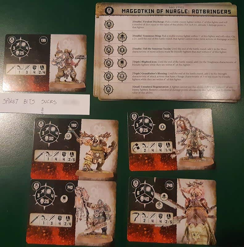 All the fighters and ability cards for the Maggotkin of Nurgle Warband for Warcry