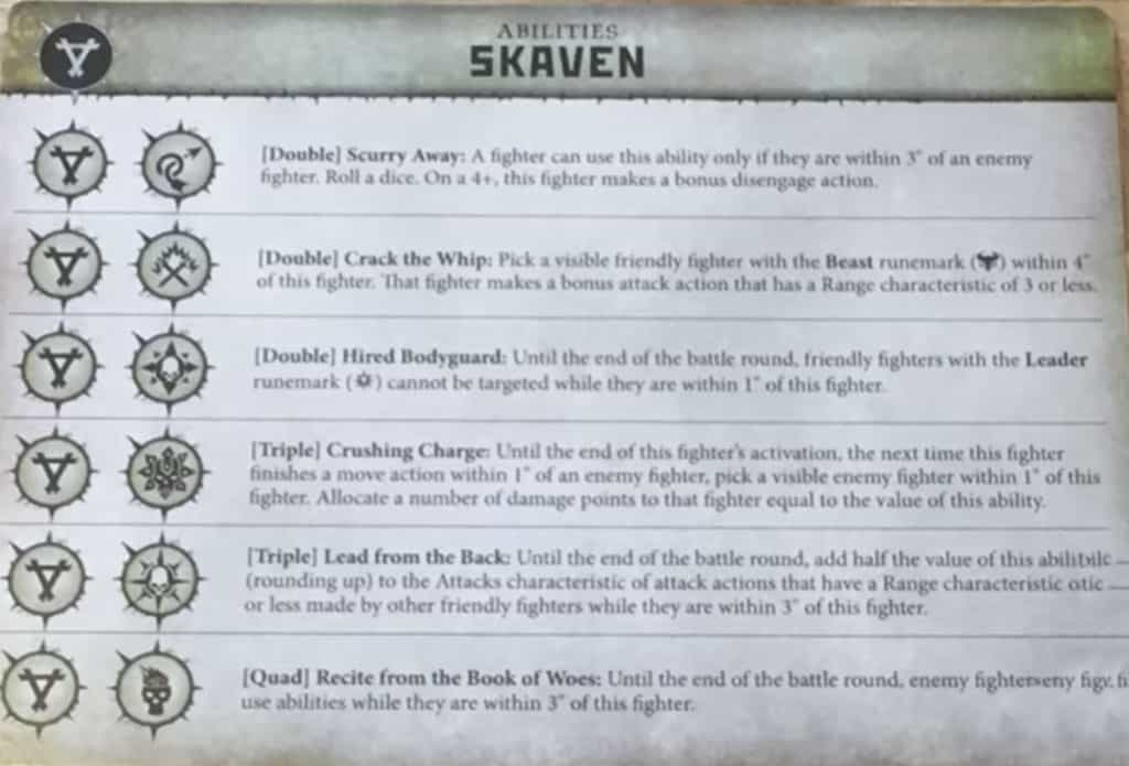 Ability Cards for the Skaven in Warcry