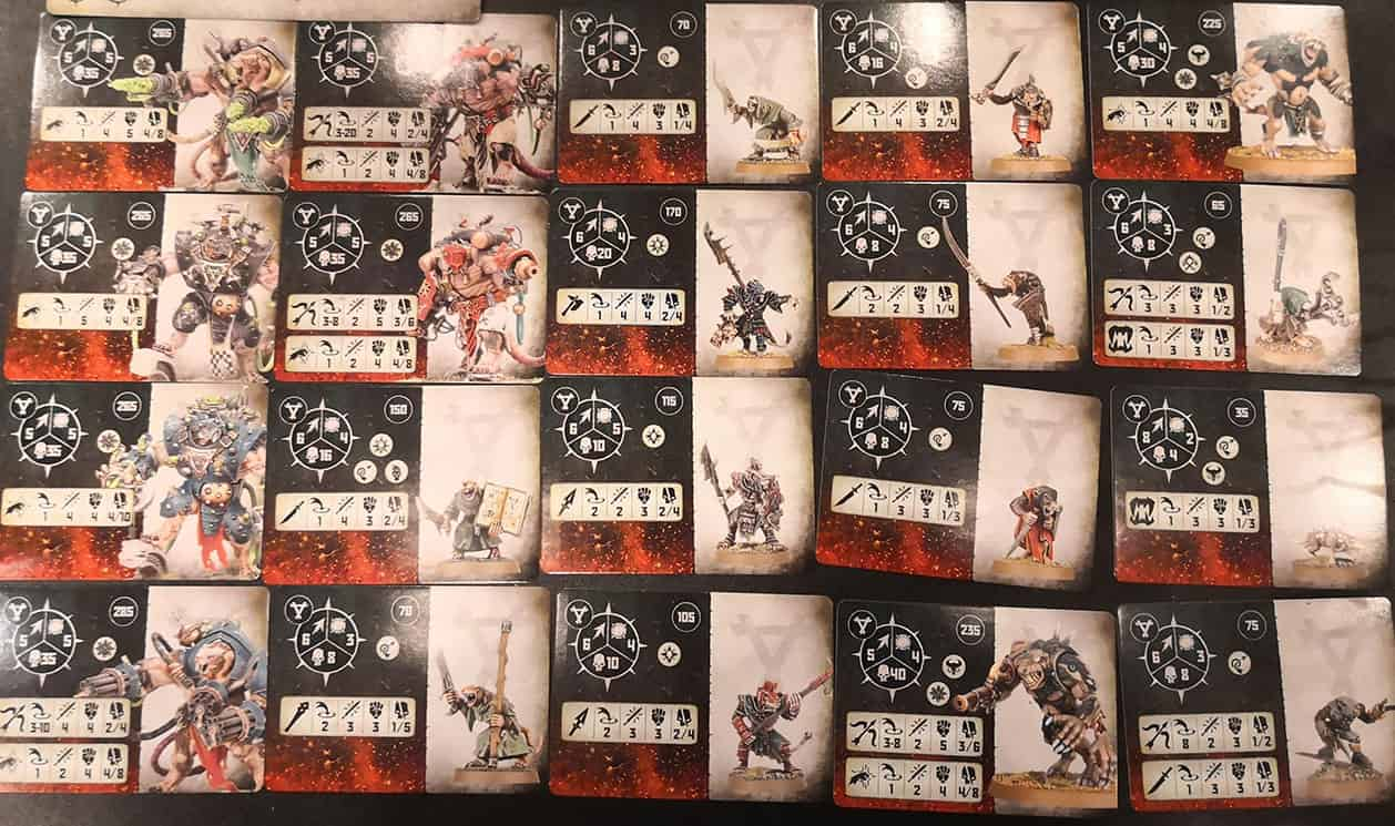 All the Fighter Cards cards for the Skaven in Warcry