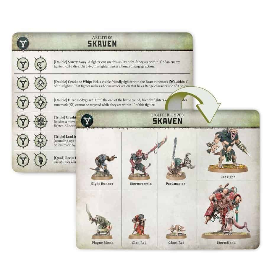 The fighters you can have in the Skaven Warband in Warcry