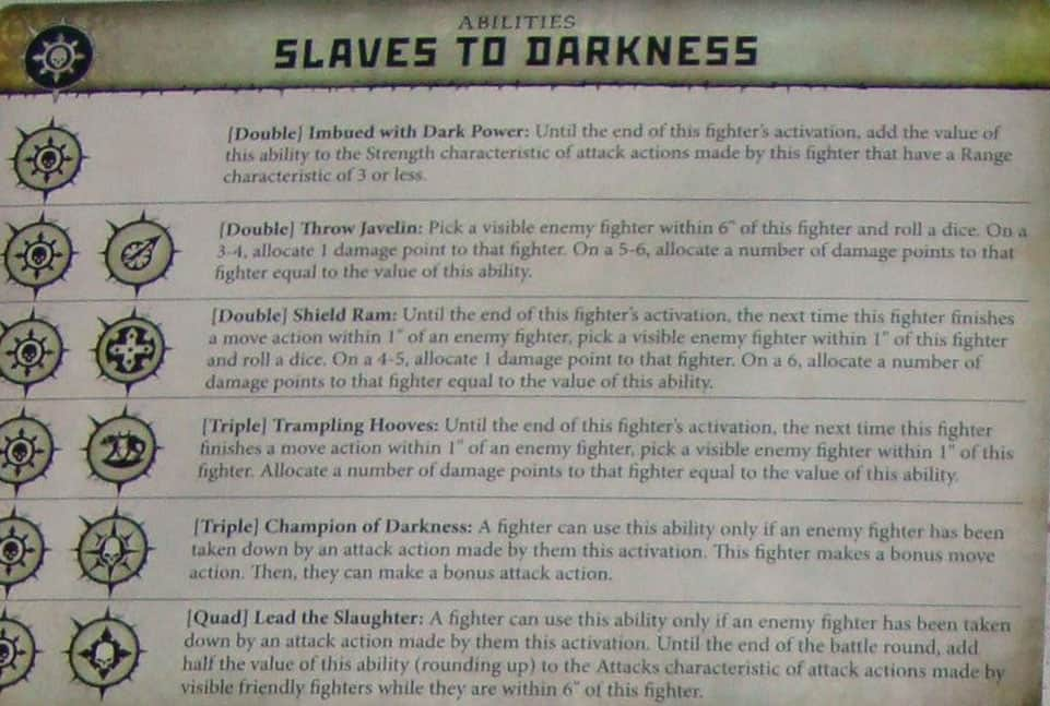 Slaves to Darknessin Warcry Ability card
