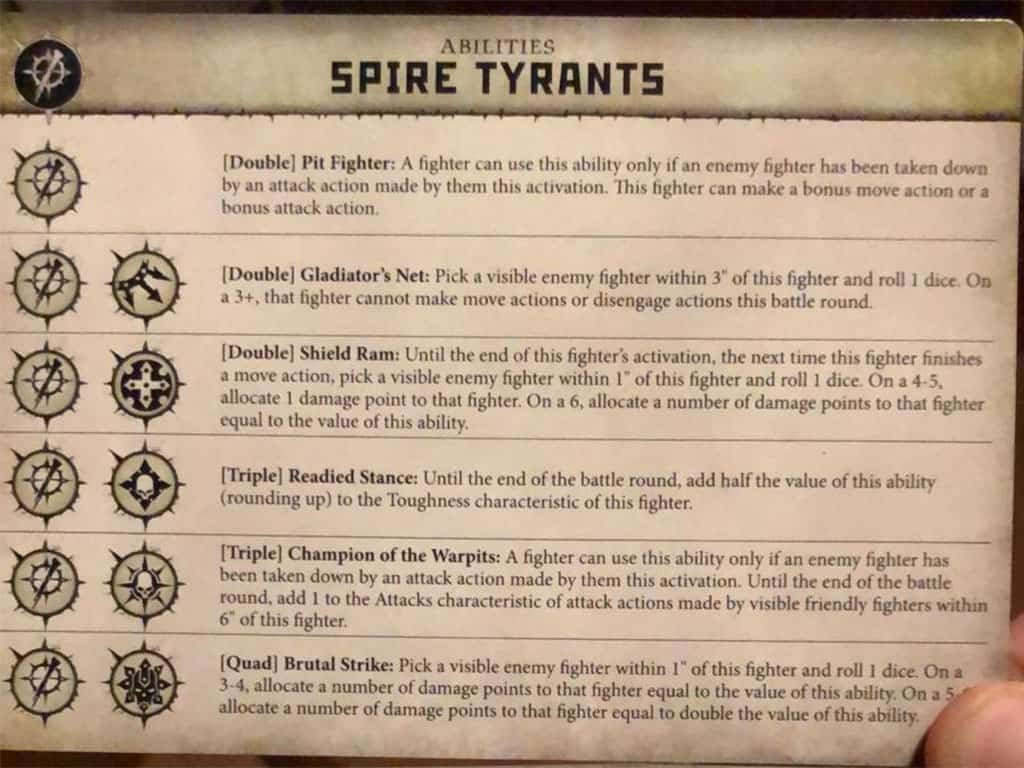 Ability Card for the Spire Tyrants Warband in Warcry