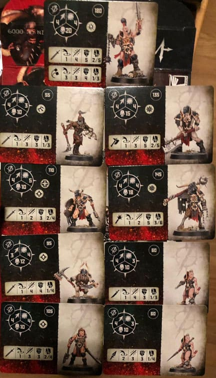 Fighter cards for the Spire Tyrants Warband