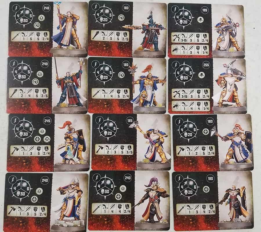 Fighter cards for the Stormcast Eternals: Sacrosanct