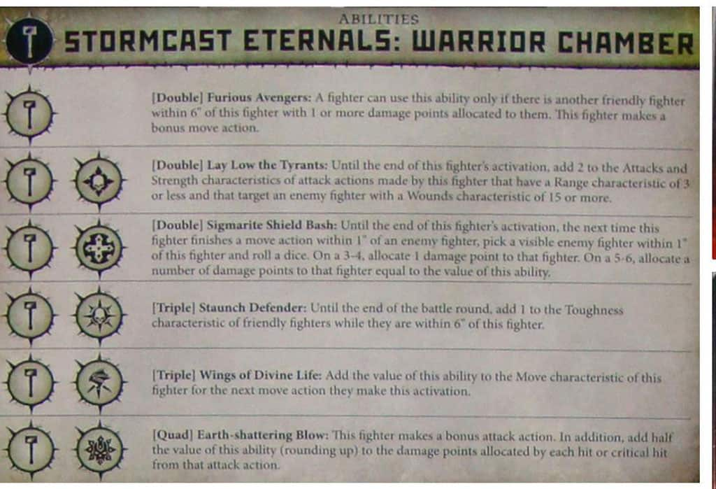 Ability card for the Warrior Chamber Stormcast Warband in warcry