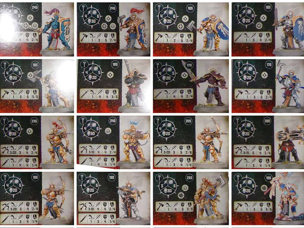 Fighter cards for the Warrior Chamber Stormcast Warband in warcry