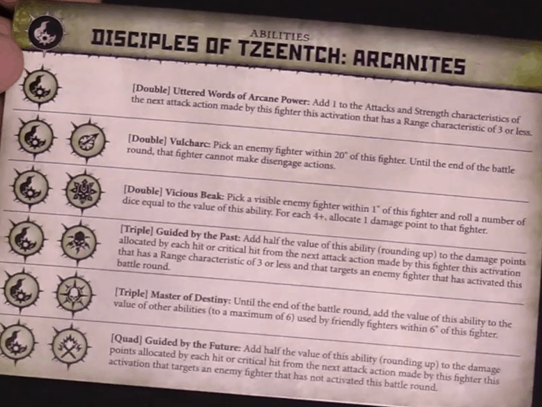 The Ability Card for the Tzeentch Arcanites in Warcry